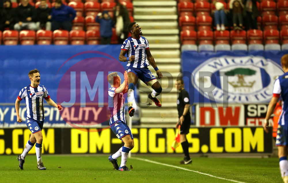 Omar Bogle of Wigan Athletic celebrates after scoring his sides second goal  - Mandatory by-line: Matt McNulty/JMP - 07/02/2017 - FOOTBALL - DW Stadium - Wigan, England - Wigan Athletic v Norwich City - Sky Bet Championship