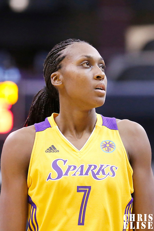 17 June 2014: Los Angeles Sparks forward/center Sandrine Gruda (7) is seen during the Minnesota Lynx  94-77 victory over the Los Angeles Sparks, at the Staples Center, Los Angeles, California, USA.