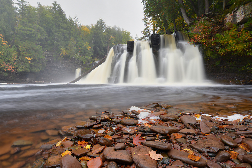 A rainy fall afternoon on the Presque Isle River ~ Porcupine Mountains State Park