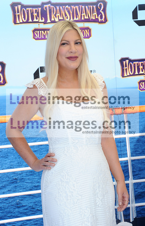 Tori Spelling at the World premiere of 'Hotel Transylvania 3: Summer Vacation' held at the Regency Village Theatre in Westwood, USA on June 30, 2018.