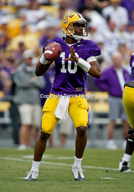 18 April 2009: LSU quarterback Russell Shepard (10) in the pocket during the 2009 LSU spring football game at Tiger Stadium in Baton Rouge, LA.