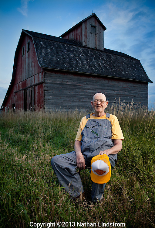 Portrait of a farmer in Iowa.<br /> Country life and Agriculture.<br /> Photographed by editorial lifestyle photographer Nathan Lindstrom