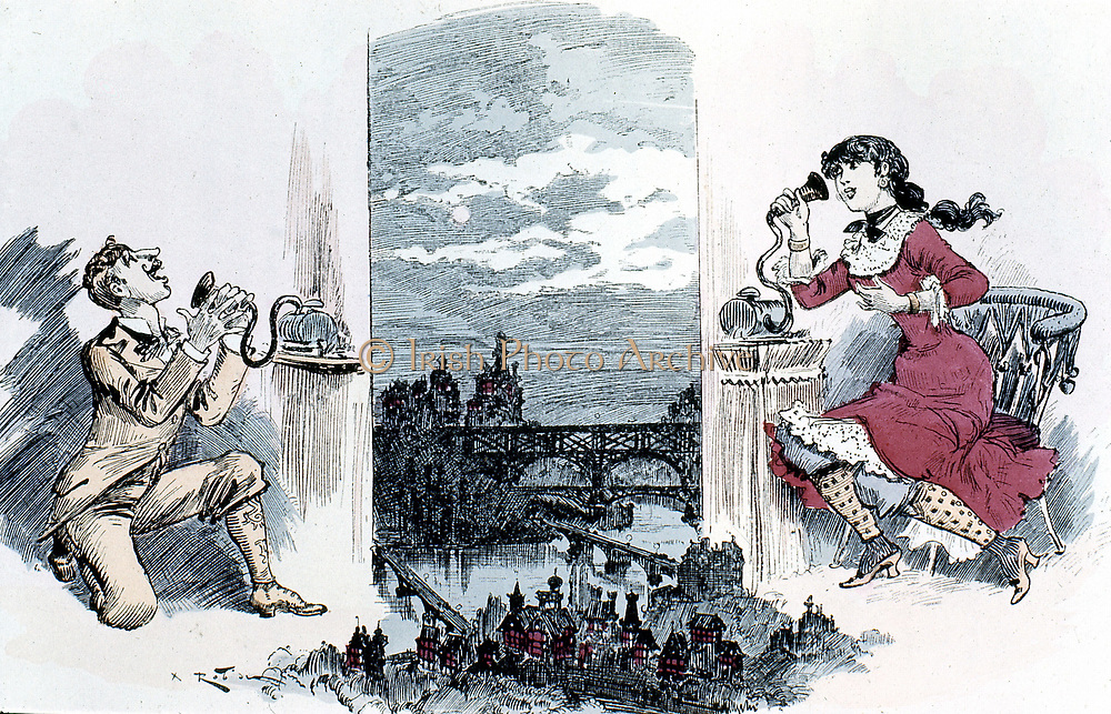 Courting by telephone across Paris. Robida's idea of  one of the results of the invention of the telephone.  From A Robida 'Le Vingtieme Siecle' Paris 1883.