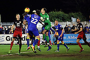 AFC Wimbledon goalkeeper James Shea (1) challenging for the ball during the EFL Sky Bet League 1 match between AFC Wimbledon and Coventry City at the Cherry Red Records Stadium, Kingston, England on 14 February 2017. Photo by Matthew Redman.