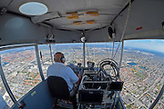 Any time I get to fly on a MetLife airship, it's a great day at the office. The vantage point is amazing and it's such a cool ride. This was taken over Miami, FL on the way to shoot aerials over Doral. Most people have never seen the cockpit of a blimp. It's not very spacious!<br /> <br /> <br /> <br /> DORAL, FL - MARCH 04:  during the second round of the World Golf Championships-Cadillac Championship at Blue Monster, Trump National Doral, on March 4, 2016 in Doral, Florida. (Photo by Chris Condon/PGA TOUR)