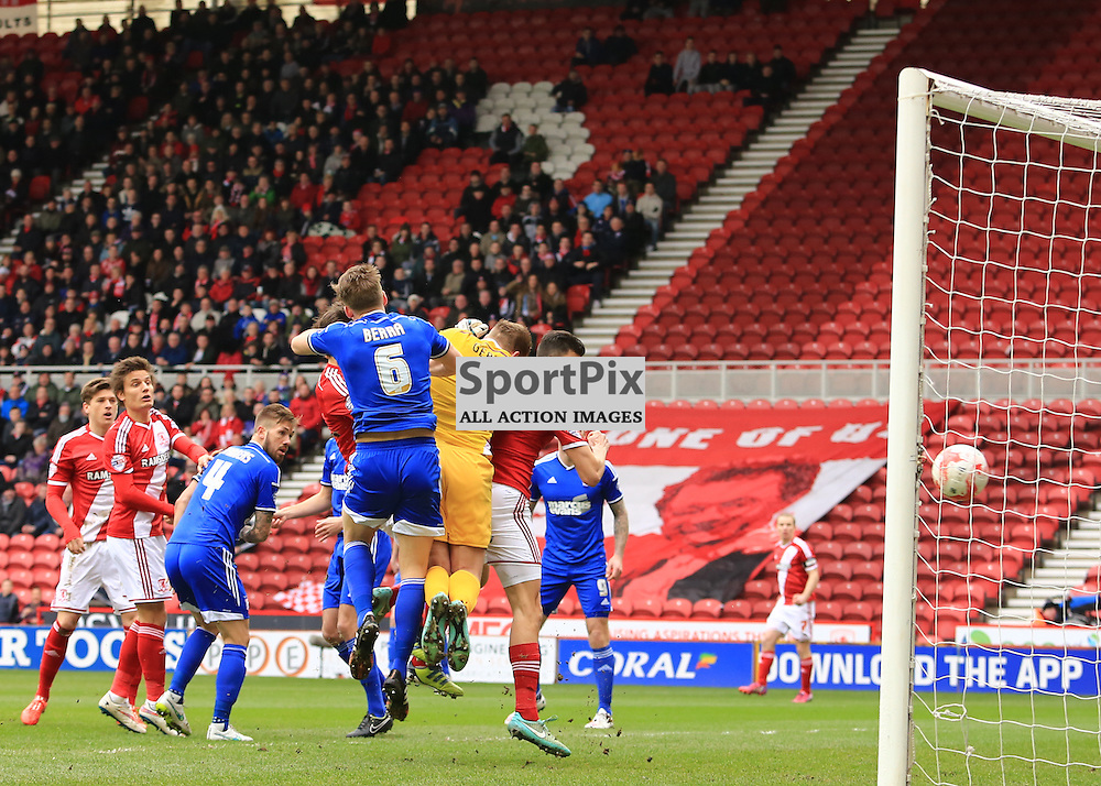 Middlesbrough defender Daniel Ayala (4)opens the scoring during the Middlesbrough FC v Ipswich Town FC Sky Bet Championship 14th March 2015 ©Edward Linton | SportPix.org.uk