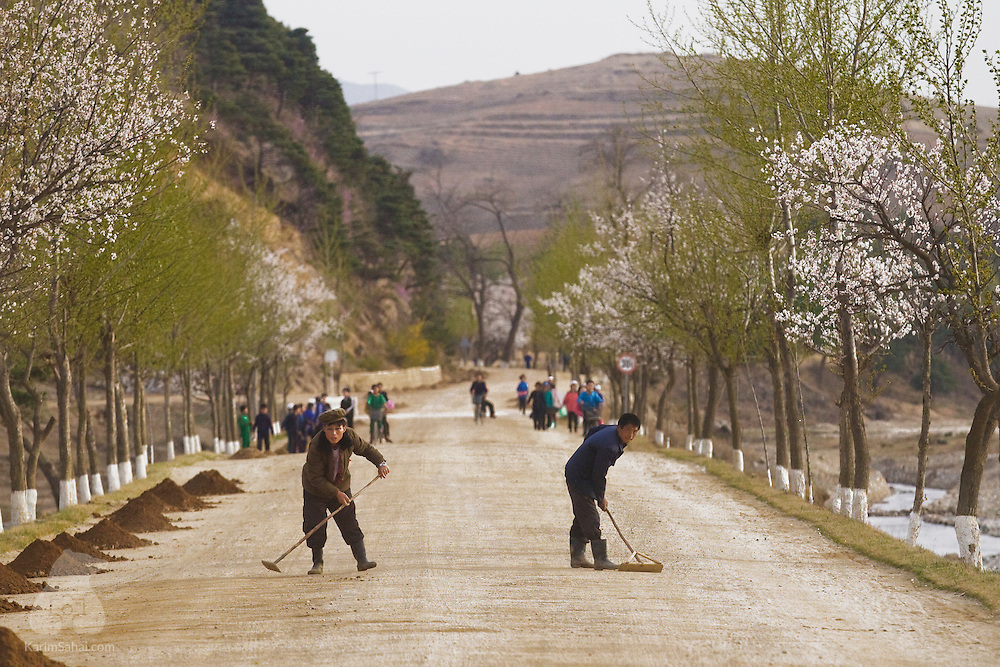 Road maintenance team at work, South Hamgyong Province, North Korea.