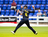 Jeremy Lawlor of Glamorgan fires the ball in <br /> <br /> Photographer Simon King/Replay Images<br /> <br /> Vitality Blast T20 - Round 8 - Glamorgan v Essex - Friday 9th August 2019 - Sophia Gardens - Cardiff<br /> <br /> World Copyright © Replay Images . All rights reserved. info@replayimages.co.uk - http://replayimages.co.uk