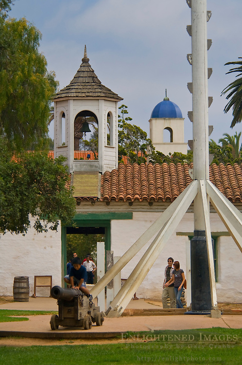 Tourists in Washington Square, Old Town San Diego State Historic Park, San Diego, California