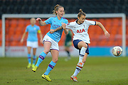 Manchester City Women midfielder Keira Walsh (24) tackled by Tottenham Hotspur Women defender Ria Percival (3) during the FA Women's Super League match between Tottenham Hotspur Women and Manchester City Women at the Hive, Barnet, United Kingdom on 5 January 2020.