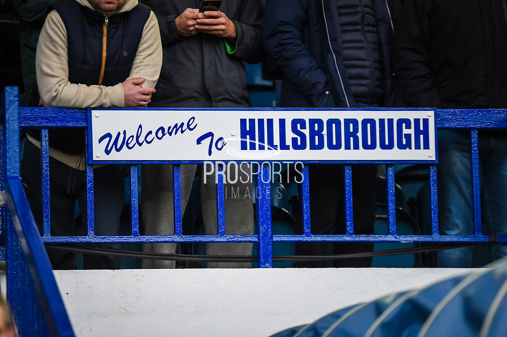 A sign above the Sheffield Wednesday tunnel reads welcome to Hillsborough before the EFL Sky Bet Championship match between Sheffield Wednesday and Brentford at Hillsborough, Sheffield, England on 7 December 2019.