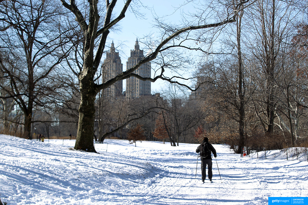 A cross country skier make use of fresh snowfalls in Central Park after New York City was hit with over 7 inches of snow during its first winter storm of the year. Central Park, Manhattan, New York, USA. 4th January 2014 Photo Tim Clayton