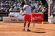 Fabio Fognini (ITA) throwing his racket during the final of the Bet-At-Home Open at Rothenbaum in Hamburg, Germany, July 21, 2013. Photo: Miroslav Dakov