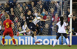 England's Ellen White (Arsenal) comes close with this header - Photo mandatory by-line: Robin White/JMP - Tel: Mobile: 07966 386802 26/10/2013 - SPORT - FOOTBALL - The Den - Millwall - England Women v Wales Women - World Cup Qualifier - Group 6