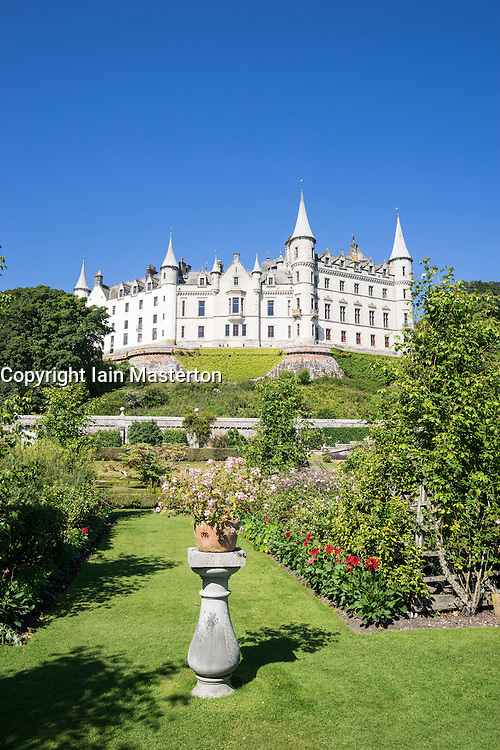 Dunrobin Castle with gardens at Golspie, Highland, Scotland. Castle is seat of the Earl of Sutherland and the Clan Sutherland; United Kingdom