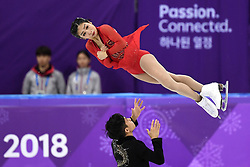 PYEONGCHANG, Feb. 15, 2018  Sui Wenjing (Top) and Han Cong of China compete during the pair skating free skating of figure skating at the 2018 PyeongChang Winter Olympic Games, in Gangneung Ice Arena, South Korea, on Feb. 15, 2018. Sui Wenjing and Han Cong won the silver medal in the pair skating event with 235.47 points in total. (Credit Image: © Ju Huanzong/Xinhua via ZUMA Wire)