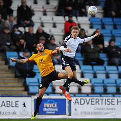 TELFORD COPYRIGHT MIKE SHERIDAN 1/12/2018 - Henry Cowans of AFC Telford battles for the ball with Danny Lowe during the Vanarama Conference North fixture between AFC Telford United and Bradford Park Avenue AFC.
