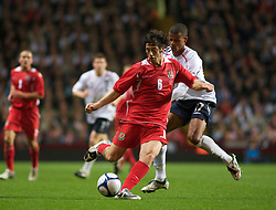 BIRMINGHAM, ENGLAND - Monday, October 13, 2008: Wales' Joe Jacobson and England's Frazier Campbell during the UEFA European Under-21 Championship Play-Off 2nd Leg match at Villa Park. (Photo by Gareth Davies/Propaganda)