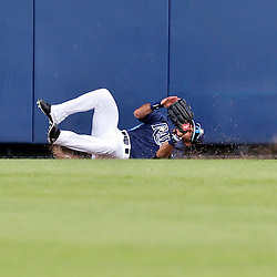 Mar 2, 2013; Port Charlotte, FL, USA; Tampa Bay Rays second baseman Sean Rodriguez (1) crashes into the wall diving for a ball hit by Baltimore Orioles third baseman Manny Machado (not pictured) who ended up with a triple on the play during the top of the sixth inning of a spring training game at Charlotte Sports Park. Mandatory Credit: Derick E. Hingle-USA TODAY Sports