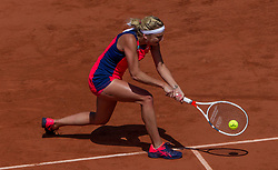 June 6, 2017 - Paris, France - Timea Bacsinszky of Switzerland returns the ball to Kristina Mladenovic of France during the quarterfinals at Roland Garros Grand Slam Tournament - Day 10 on June 6, 2017 in Paris, France. (Credit Image: © Robert Szaniszlo/NurPhoto via ZUMA Press)