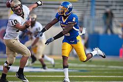 October 10, 2009; San Jose, CA, USA;  San Jose State Spartans safety Duke Ihenacho (2) hits Idaho Vandals quarterback Nathan Enderle (10) after a throw during the first quarter at Spartan Stadium.  Idaho won 29-25.