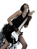 one woman playing electric guitar on studio isolated white background
