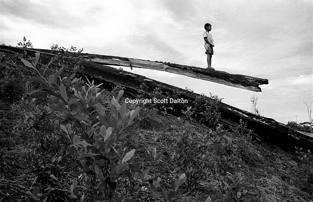 A young boy stands on a fallen tree overlooking a coca field in the Putumayo, one of the principle coca growing regions in Colombia. Much of Colombia?s conflict revolves around battles for control of the coca fields. (Photo/Scott Dalton)