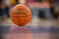 31 December 2011: The Spaulding NBA basketball sits on the court during the Los Angeles Lakers 92-89 victory over the Denver Nuggets at the STAPLES Center in Los Angeles, CA.