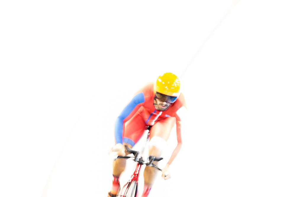 Ignacio Prado of Mexico competes in the men's omnium individual pursuit on the fist day of track cycling at the 2015 Pan American Games in Toronto, Canada, July 16,  2015.  AFP PHOTO/GEOFF ROBINS