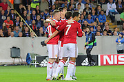Wayne Rooney of Manchester United scores and celebrates the 3rd goal during the Champions League Qualifying Play-Off Round match between Club Brugge and Manchester United at the Jan Breydel Stadion, Brugge, Belguim on 26 August 2015. Photo by Phil Duncan.