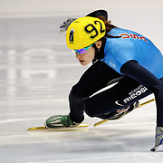 November 5, 2009 - Montreal, CAN - Katherine Reutter (USA) skates to a first place finish during 500m heat race during ISU Short Track Speed Skating competition.