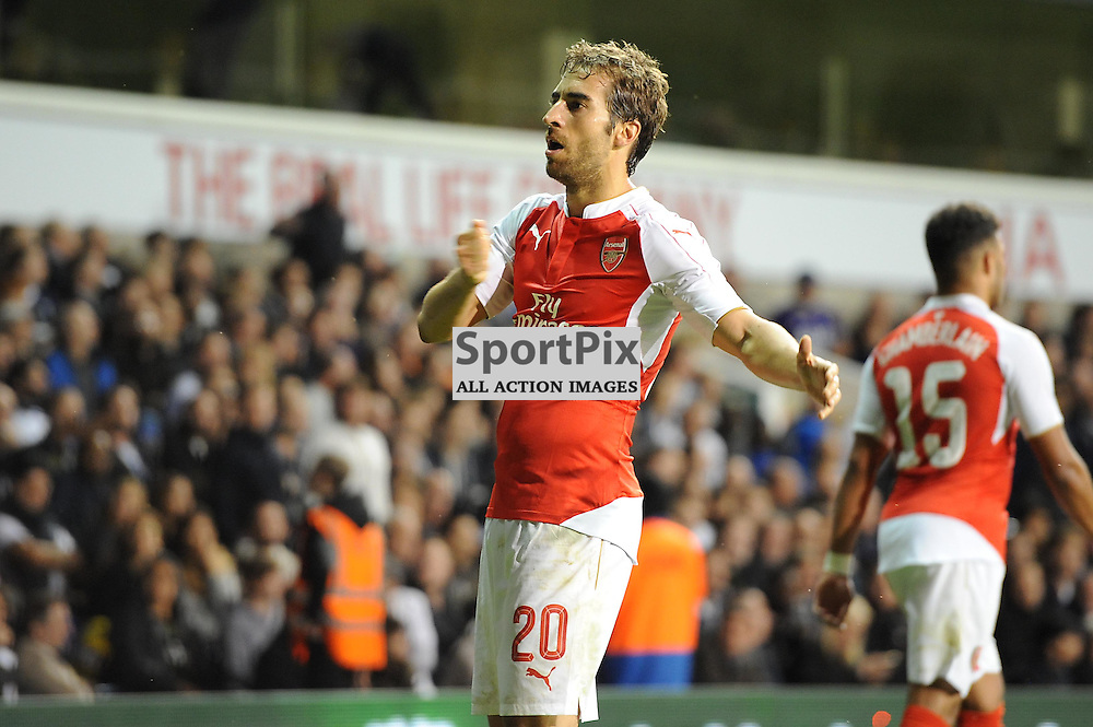 Arsenals Matthieu Flamini celebrates restoring Arsenals lead during the Capital One Cup third round tie between Tottenham and Arsenal on 23rd September 2015