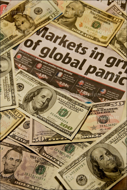Newspaper headline Economic Crisis 'The only thing we have to fear is fear itself' FDR was right then. And he's right now. Stock Market takes a nose dive rocks markets worldwide Dow sinks below 10,000 global markets in painic.