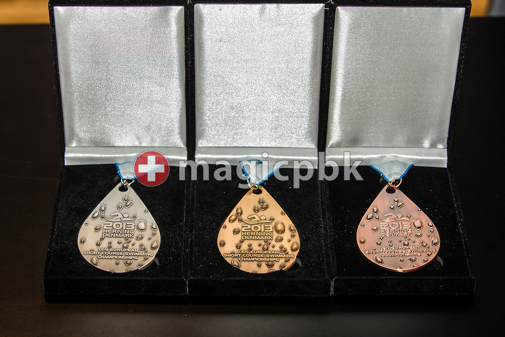 (L-R) The Silver, Gold, and Bronze Medal are pictured during a press conference a day prior to the start of the 17th European Short Course Swimming Championships held at the Jyske Bank BOXEN in Herning, Denmark, Wednesday, Dec. 11, 2013. (Photo by Patrick B. Kraemer / MAGICPBK)