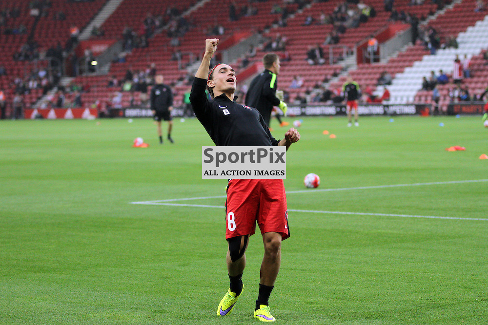 Petter Andersson pumps up the crowd before the game between Southampton FC and  Fc Midtjylland on Thursday the 20th August 2015.
