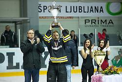 Captain Rok Snoj of HK Playboy Slavija with trophy for second place during 5th game of final INL league ice hockey match between HK Playboy Slavija and EHC Bregenwald at Dvorana Zalog, on April 3, 2013, in Ljubljana, Slovenia. (Photo by Matic Klansek Velej / Sportida)