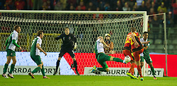 BRUSSELS, BELGIUM - Tuesday, October 15, 2013: Wales' James Collins blocks a shot from Belgium's Toby Alderweireld during the 2014 FIFA World Cup Brazil Qualifying Group A match at the Koning Boudewijnstadion. (Pic by David Rawcliffe/Propaganda)