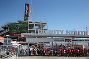 Oct 07, 2018; Santa Clara, CA, USA; General view of fan entering Levi's Stadium at the Dignity Health Gate prior to an NFL game between San Francisco 49ers and the Arizona Cardinals. (Spencer Allen/Image of Sport)