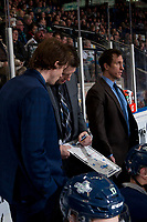 KELOWNA, CANADA - FEBRUARY 23:  Seattle Thunderbirds' assistant coaches Castan Sommer and Kyle Hagel stand beside head coach Matt O'Dette as he goes over a play on the bench against the Kelowna Rockets on February 23, 2018 at Prospera Place in Kelowna, British Columbia, Canada.  (Photo by Marissa Baecker/Shoot the Breeze)  *** Local Caption ***