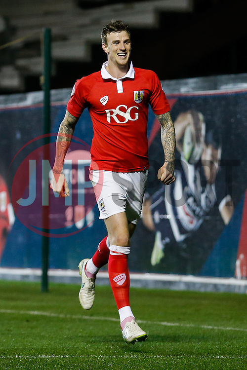 Aden Flint of Bristol City celebrates scoring a goal to make it 2-0 - Photo mandatory by-line: Rogan Thomson/JMP - 07966 386802 - 17/03/2015 - SPORT - FOOTBALL - Bristol, England - Ashton Gate Stadium - Bristol City v Crewe Alexandra - Sky Bet League 1.