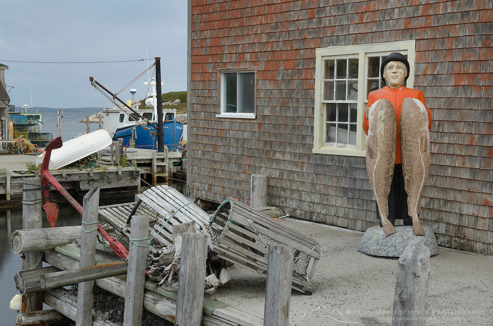 Cod man statue by fisherman's shack, Peggy's Cove Nova Scotia