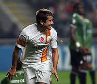 UEFA Champions league group H football match between  Braga v Galatasaray at Municipal (AXA)Stadium in Braga, Portugal 05.12.2012.Match Scored: Braga 1 - Galatasaray 2.Pictured: Galatasaray's Aydin Yilmaz celebrates after the scored.