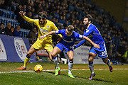AFC Wimbledon midfielder George Francomb (7), Gillingham midfielder Lee Martin (14)  and Gillingham midfielder Bradley Dack (23) battle for the ball during the EFL Sky Bet League 1 match between Gillingham and AFC Wimbledon at the MEMS Priestfield Stadium, Gillingham, England on 21 February 2017. Photo by Martin Cole.