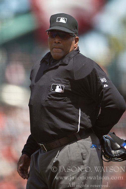 SAN FRANCISCO, CA - APRIL 26:  MLB umpire Laz Diaz #63 looks on during the fourth inning between the San Francisco Giants and the Cleveland Indians at AT&T Park on April 26, 2014 in San Francisco, California. The San Francisco Giants defeated the Cleveland Indians 5-3.  (Photo by Jason O. Watson/Getty Images) *** Local Caption *** Laz Diaz