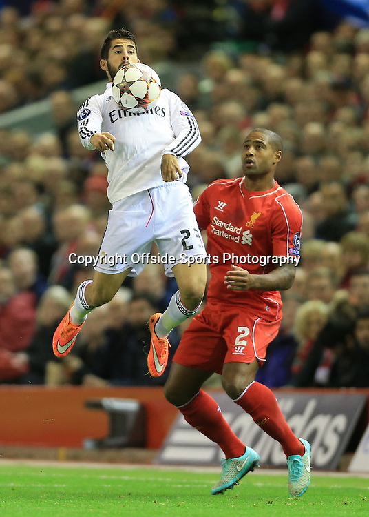 22nd October 2014 - UEFA Champions League - Group B - Liverpool v Real Madrid - Isco of Real and Glen Johnson of Liverpool - Photo: Simon Stacpoole / Offside.
