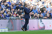 Everton Manager Roberto Martinez during the The FA Cup semi final match between Everton and Manchester United at Wembley Stadium, London, England on 23 April 2016. Photo by Phil Duncan.