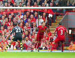 17.08.2013, Anfield, Liverpool, ENG, Premier League, FC Liverpool vs Stoke City, 1. Runde, im Bild Liverpool's Lucas Leiva makes a goal line clearance during the Premiership match against Stoke City at Anfield during the English Premier League 1st round match between Liverpool FC and Stoke City FC at Anfield, Liverpool, Great Britain on 2013/08/17. EXPA Pictures © 2013, PhotoCredit: EXPA/ Propagandaphoto/ David Rawcliffe<br /> <br /> ***** ATTENTION - OUT OF ENG, GBR, UK *****
