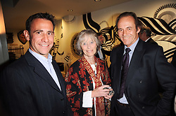 Left to right, SACHA MIRZOEFF, VIRGINIA McKENNA and TONY FITZJOHN at a party to celebrate the publication of Born Wild by Tony Fitzjohn at The Arts Club, Dover Street, London on 16th September 2010.