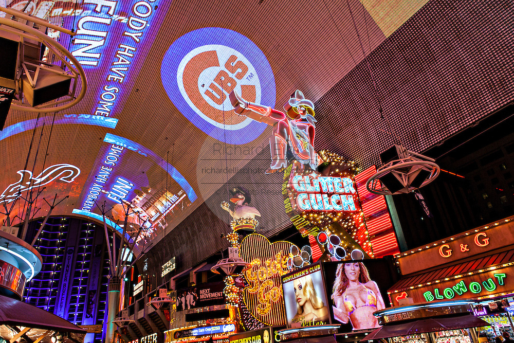 Neon lights in the Fremont Street Experience in Las Vegas, NV.