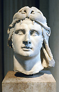 Alexander the Great (356-323 BC) Alexander III of Macedon. Portrait bust showing Alexander wearing lion head-dress.